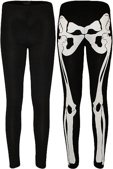 New Ladies Girls Halloween Full Bones Skeleton Printed leggings Trousers