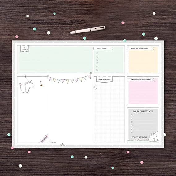 Schreibtischunterlage von Katz und Tinte, DIN A2 aus Papier zum Abreißen, 30 Blatt mit Einhorn, Abreißblock, Denkzettel, mint