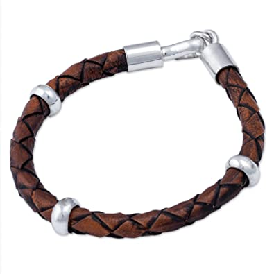 Novica Mens leather bracelet, Cool Black on Brown