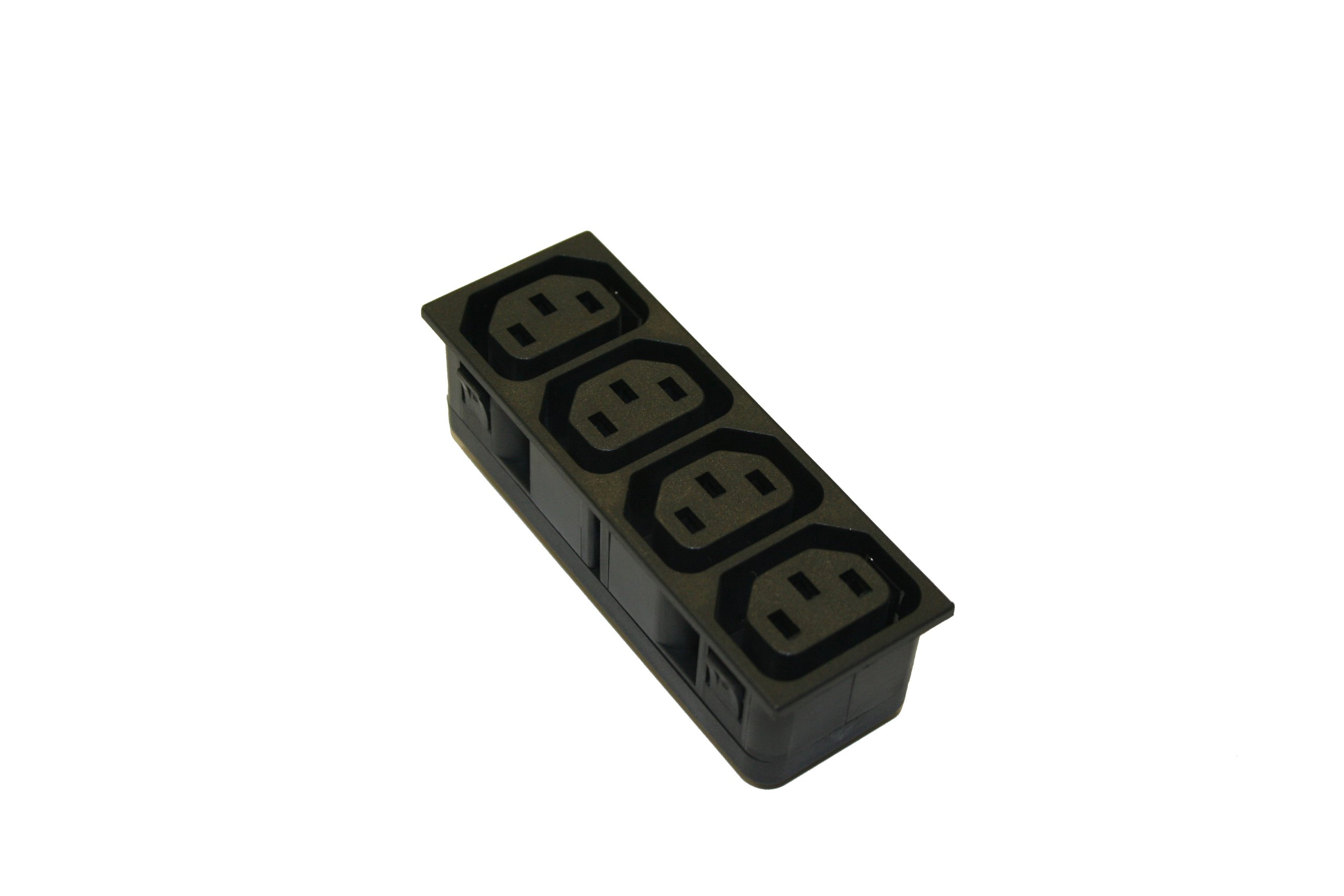 Interpower 83020150 IEC 60320 Four Position Accessory Module, 3mm Panel Thickness, IEC 60320 Sheet F Socket Type, Black, 10A/15A Rating, 250VAC Rating