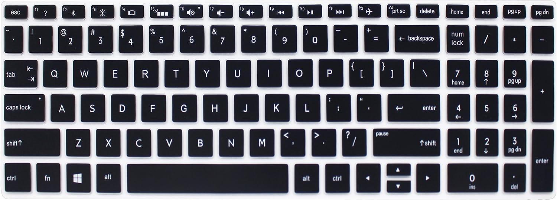 """Silicone Keyboard Cover Skin for for 15.6"""" HP Pavilion x360 15-br075nr, Pavilion 15-cc 15-cb Series 15-cc010nr 15-cb010nr, HP Envy x360 15m-bp 15m-bq Series, HP Envy 17.3"""" 17m-ae011dx (Black)"""