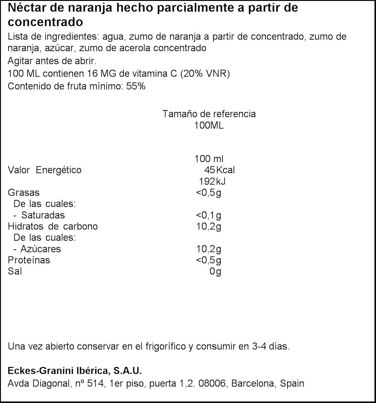 Granini - Zumo Nectar Naranja Minibrick 3 x 0,2 L: Amazon.es ...