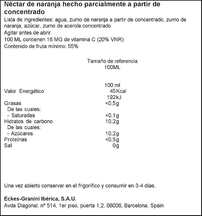 Granini - Zumo Nectar Naranja Minibrick 3 x 0,2 L: Amazon.es: Alimentación y bebidas
