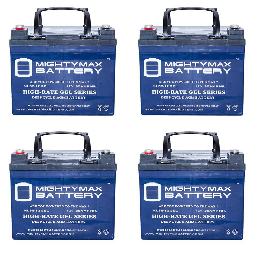 12V 35AH GEL Battery Replaces Solar Wind VRLA - 4 Pack - Mighty Max Battery brand product