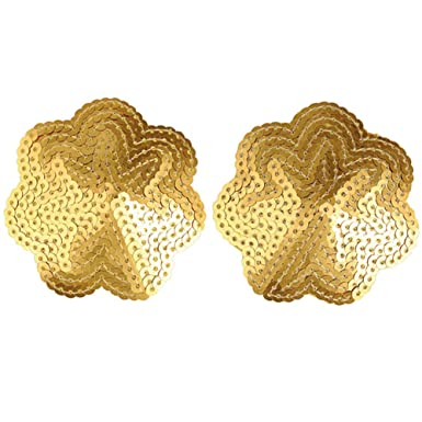 5b9dbc477 Ayliss 2pcs Reusable Women Sexy Sequin Nipple Cover Gold Star Exotic Pasties   Amazon.co.uk  Clothing