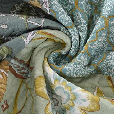 Home & Kitchen Bedding ENCOFT Green Patchwork Quilt Matched ...