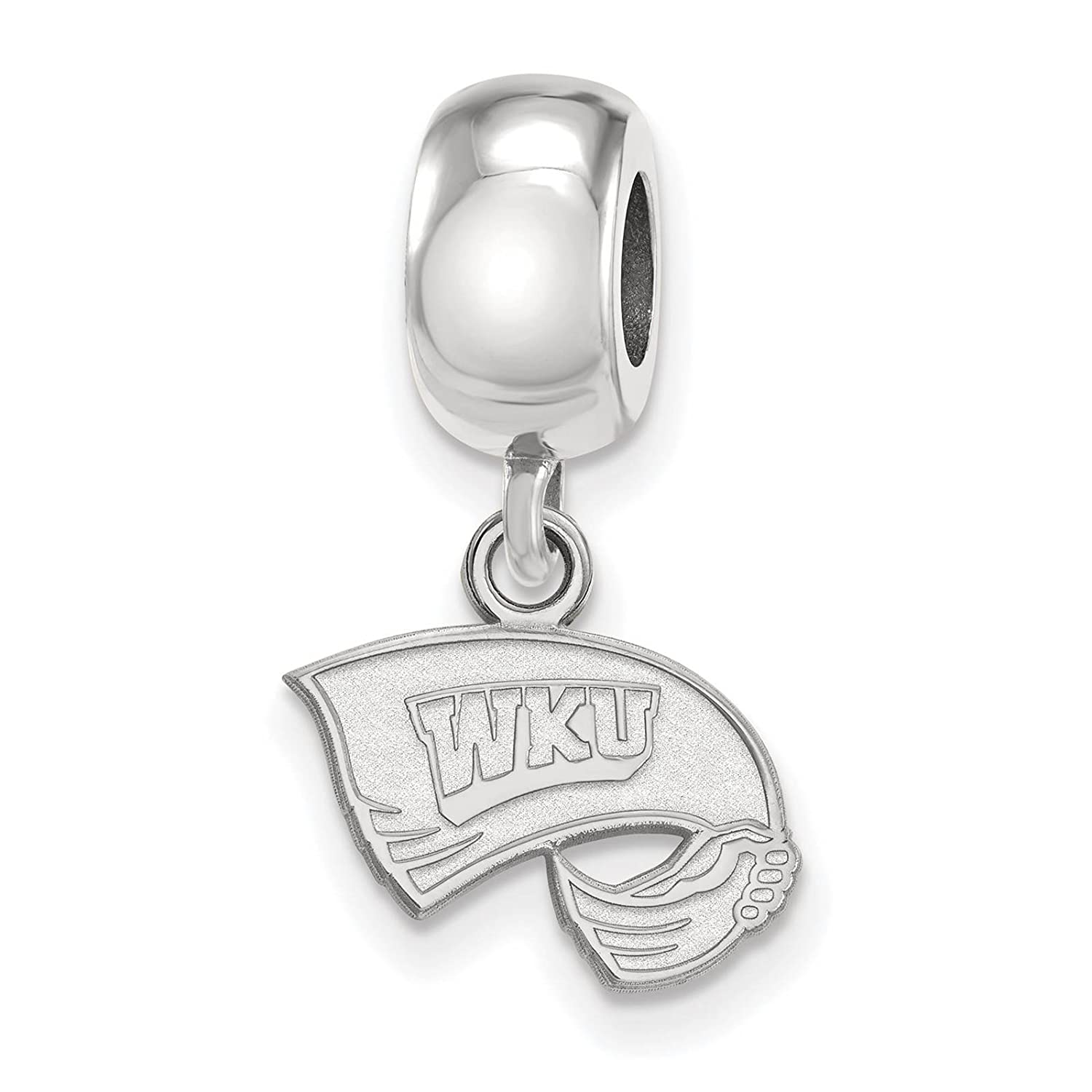 925 Sterling Silver Rhodium-plated Laser-cut Western Kentucky University XS Dangle Bead Charm