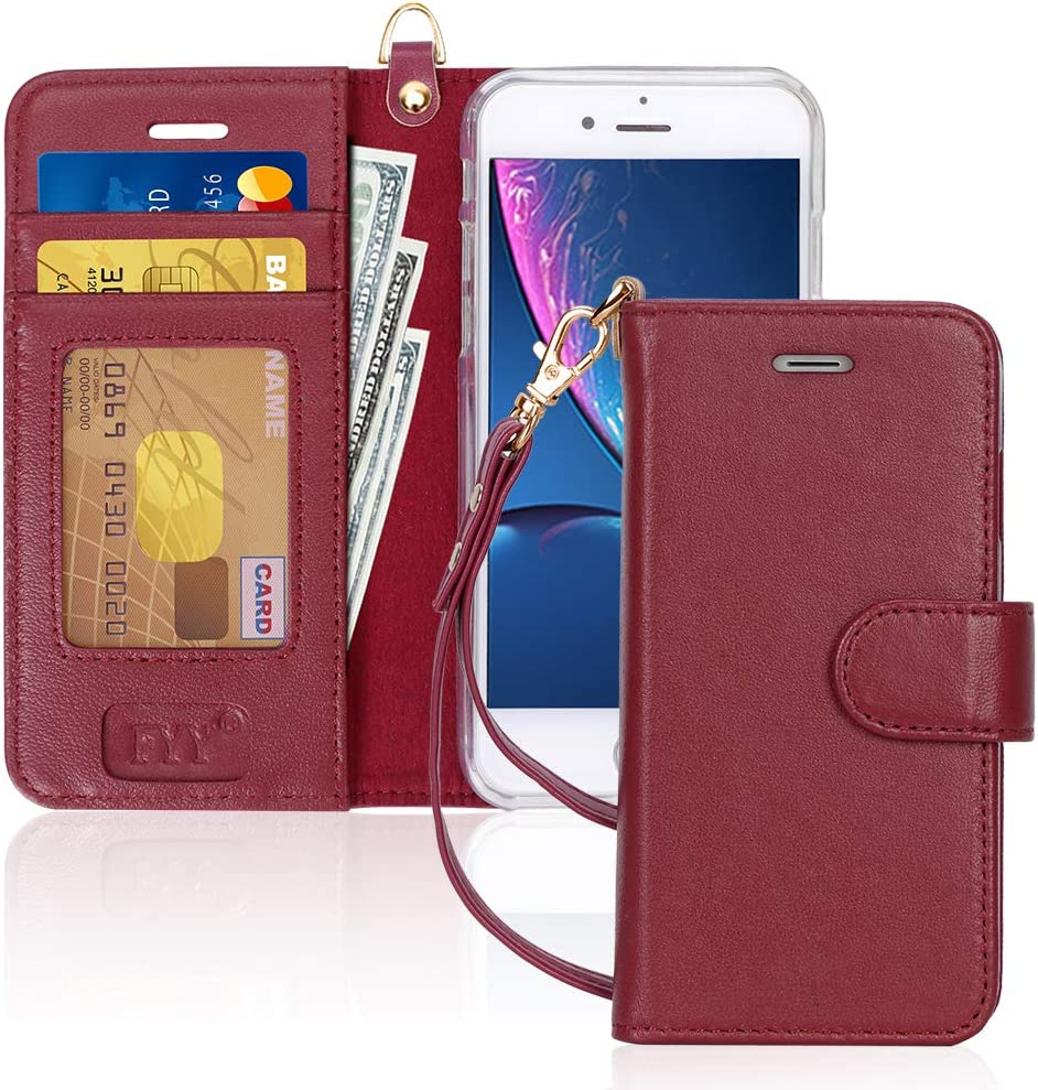 "FYY Case for iPhone 8/iPhone 7/iPhone SE (2nd) 2020 4.7"", [RFID Blocking] Genuine Leather Flip Folio Wallet Case with [Card Holder][Strap] for Apple iPhone 8 2017/7 2016/SE(2nd) 2020 4.7"" Wine Red"
