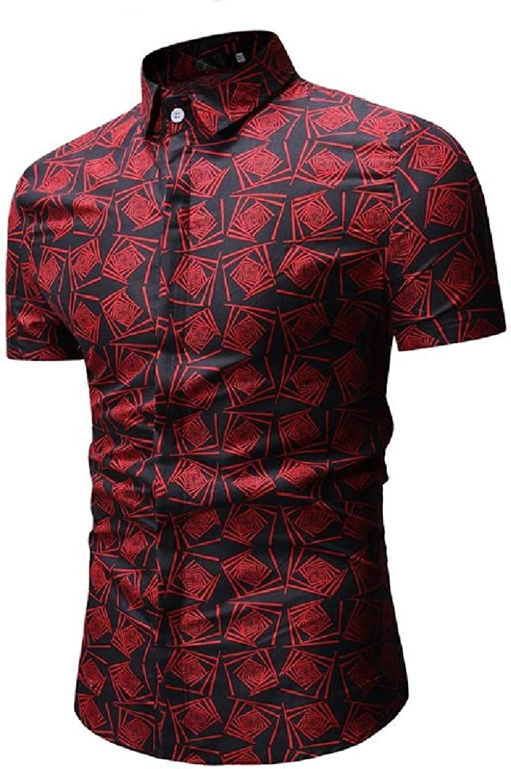 Vska Men Short-Sleeve Printing Peaked Collar Silm Fit Casual Dress Shirts