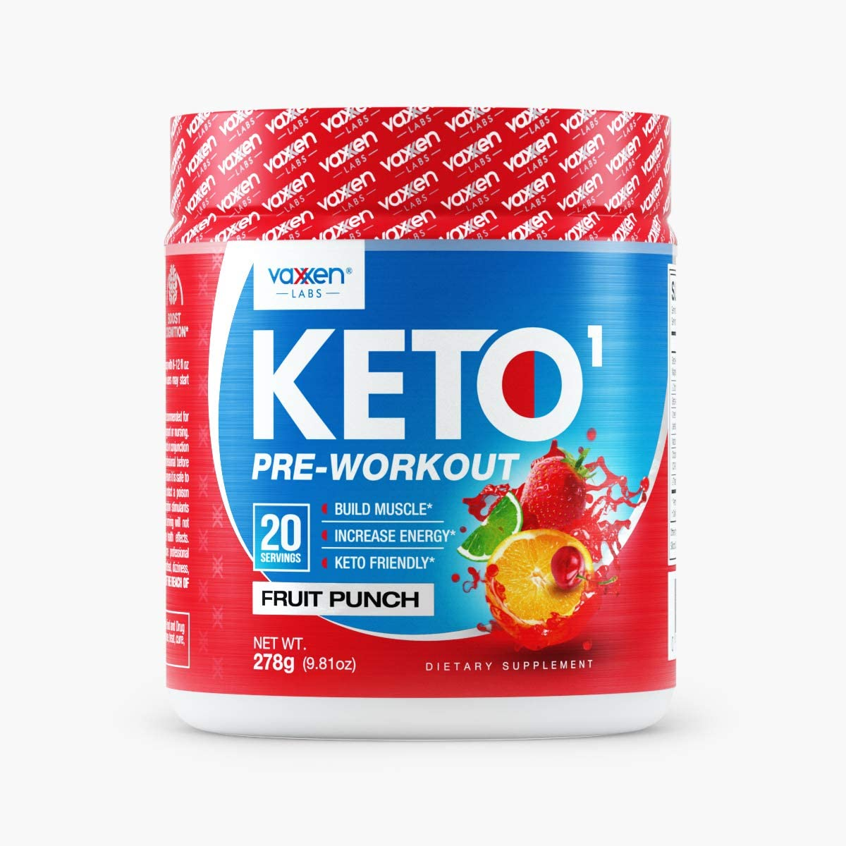 Vaxxen Labs Keto1 Ketogenic Preworkout 278g, 20 Servings of Natural Caffeine Sources Like Green Tea Extract for Energy, Nootropics for Mental Focus, Pump Ingredients, and BHB to Stay in Ketosis