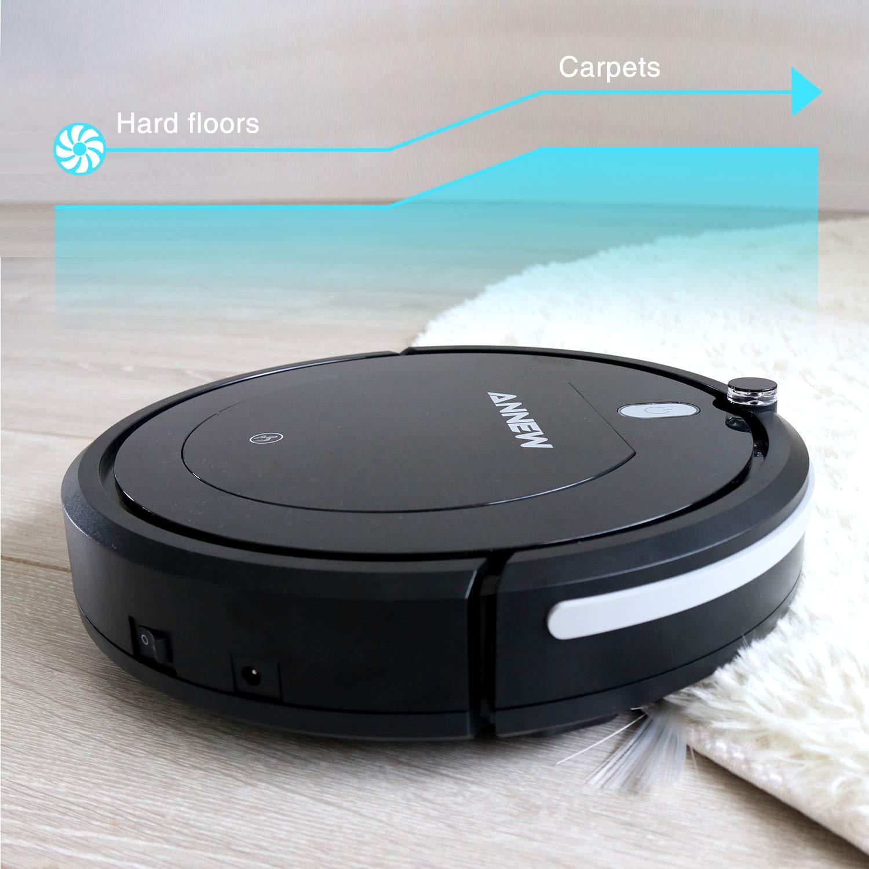 ANNEW Robot Aspirador con Control Remoto 3 Modos de Limpieza Anti-caídas Filtro HEPA Adecuado para el Pelo de Mascotas Alfombras Pisos Duros
