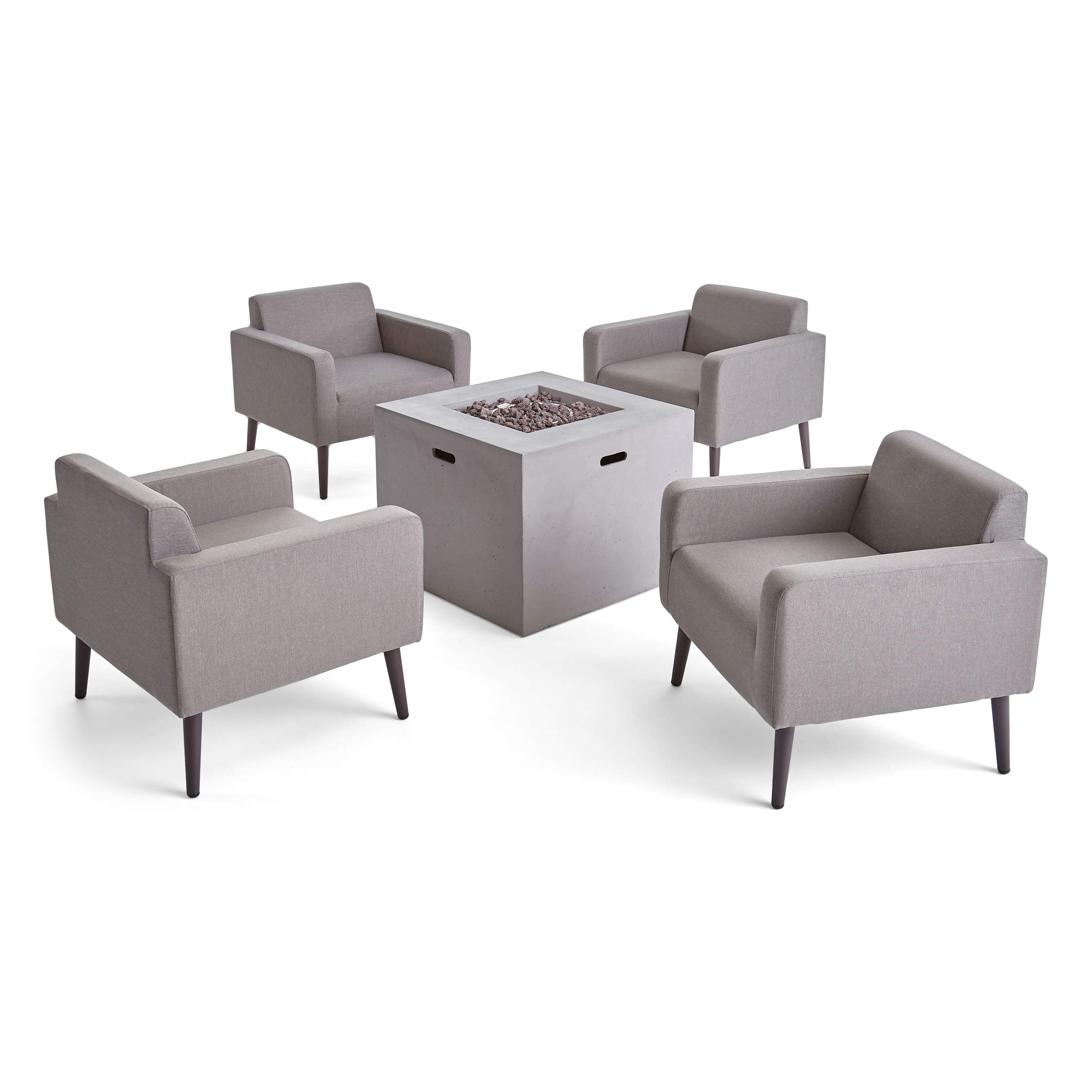 Carina Outdoor Upholstered 5 Piece Club Chair and Fire Pit Set, Taupe and Light Gray by Great Deal Furniture