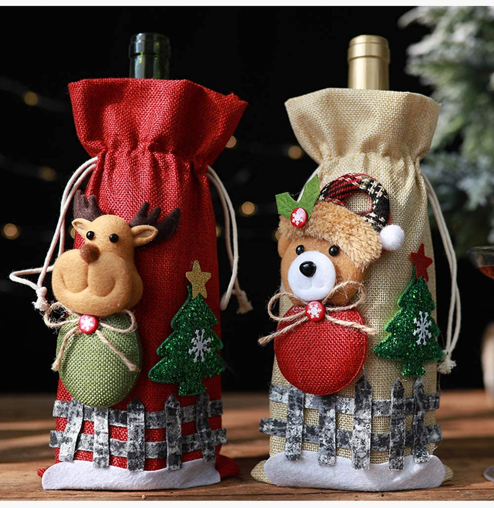 UGKU Christmas Wine Bags with Drawstrings – Reusable Linen Bottle Bags 2 Pack (Red&Champagne) WAS £25.99 NOW £10.4 w/code WZKKFZUJ @ Amazon