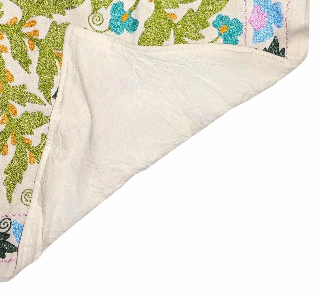 Impresionante grande seda de Uzbekistán bordado tradicional Suzani ...