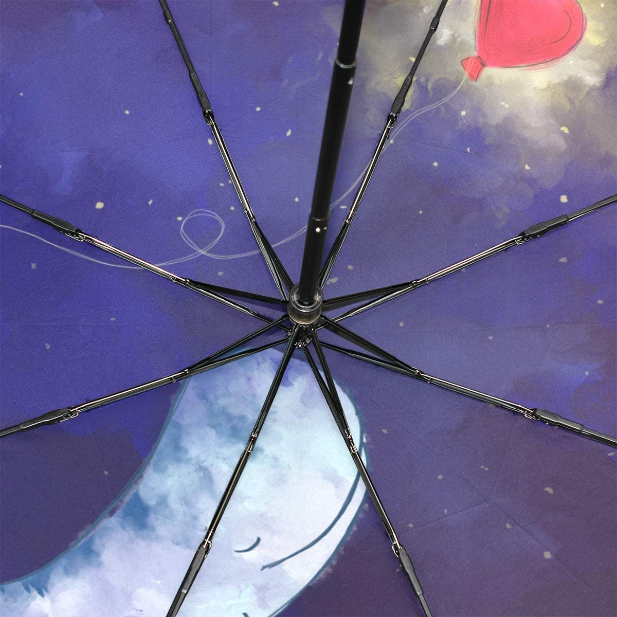 Big Kids Umbrella Cute Whale Hold Girl Heart Balloon Over Starry Night Portable Compact Folding Umbrella Anti Uv Protection Windproof Outdoor Travel Women Inverted Umbrella Black