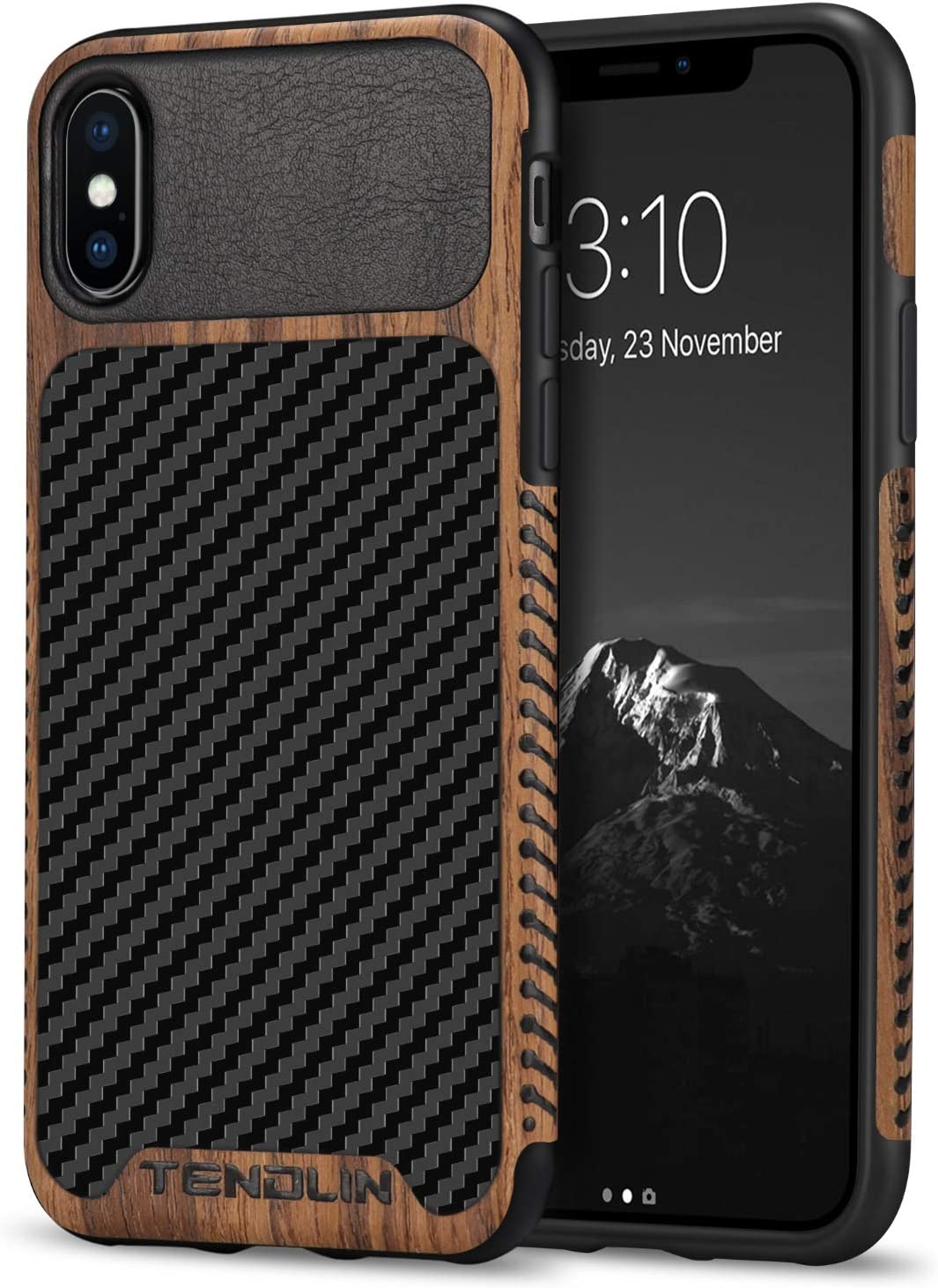 TENDLIN Compatible with iPhone Xs Max Case Wood Grain with Carbon Fiber Texture Design Leather Hybrid Slim Case Compatible with iPhone Xs Max