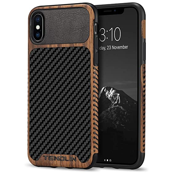 size 40 a9e96 17323 TENDLIN Compatible with iPhone Xs Case/iPhone X Case Wood Grain with Carbon  Fiber Texture Design Leather Hybrid Slim Case Compatible with iPhone X and  ...