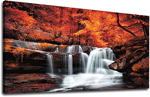 Large Canvas Wall Art Waterfall Autumn Red Forest Landscape Picture Stream River Scenery Painting Long Canvas Artwork Contemporary Nature Picture