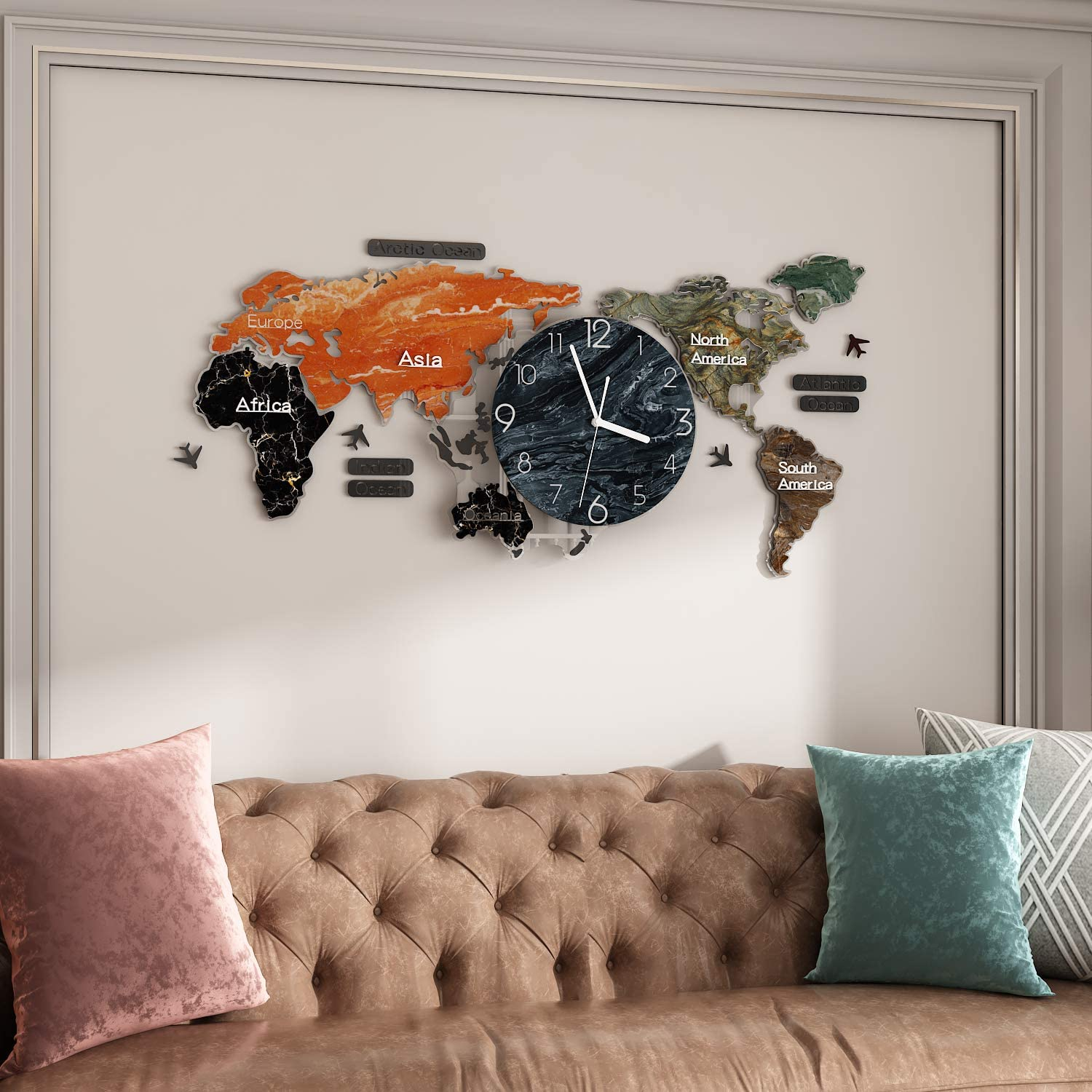 MEISD Decorative Wall Clocks for Living Room Decor, Modern World Map Wall Clock, Silent Non Ticking Clock Battery Operated, Large 3D DIY Wall Clock for Kitchen Bedroom Office Bathroom Home