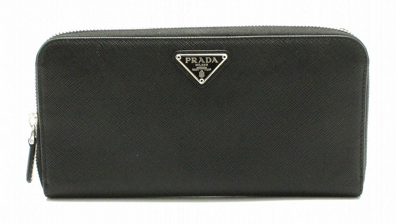 [プラダ] PRADA ラウンドファスナー 長財布 型押しレザー レザー 黒 ブラック 1ML506 B07D6ZJG4W