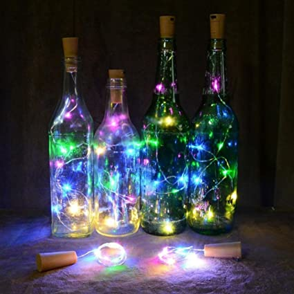 Gemini_Mall Bottle Cork Copper Wire String Lights with 15 LED Bulbs
