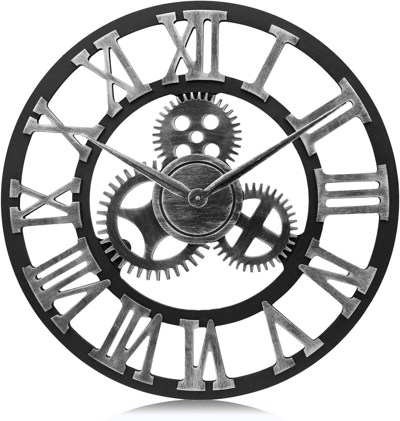Lafocuse Reloj de Pared Grande Engranajes Retro Madera Reloj de Cuarzo Plata Industrial Creativo Silencioso Números Romanos Salon Bar Restaurante 58cm