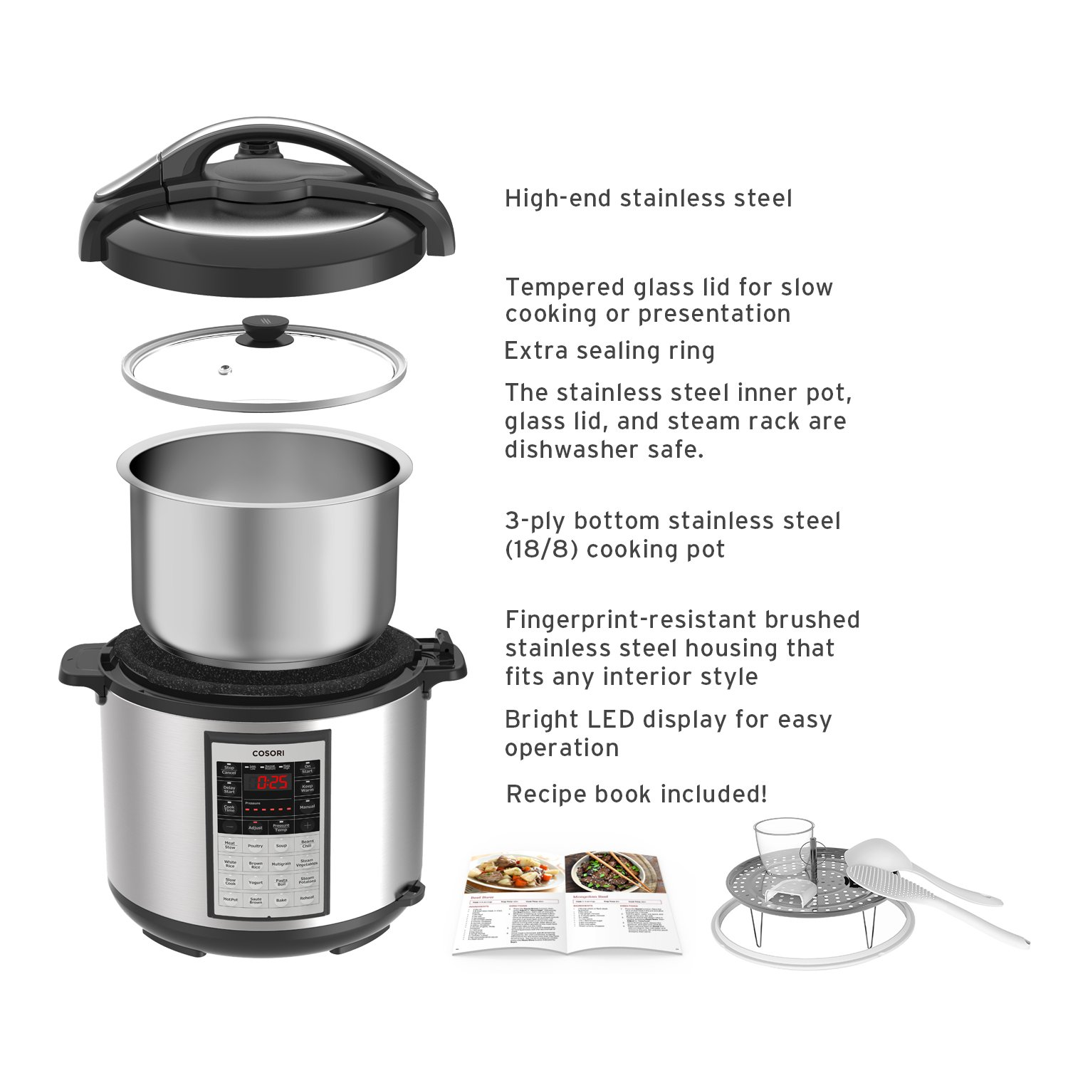 COSORI 8 Quart 8-in-1 Multi-Functional Programmable Pressure Cooker, Slow Cooker, Rice Cooker, Steamer, Sauté, Yogurt Maker, Hot Pot and Warmer, Full Accessories Included, Stainless Steel by COSORI (Image #4)