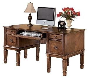 Ashley Furniture Signature Design - Hamlyn Large Home Office Desk - Drop-Down Keyboard Tray - 2 Drawers/1 File Drawer - Traditional - Medium Brown Finish