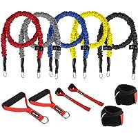 Träning motståndsband set - uppgraderade träningsband med 5 st fitnessstyrka rör spänningsband/handtag/dörrankare…