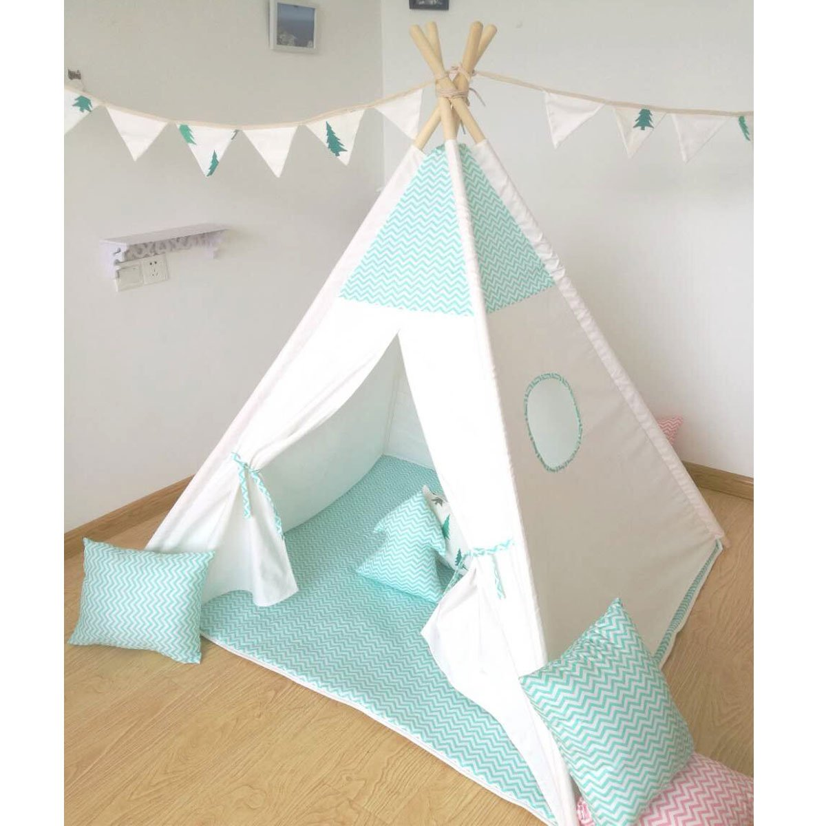 green stripe design Play Teepee 100% Cotton Canvas Portable Indoor Tent for Boy and Girls children playhouse with mat