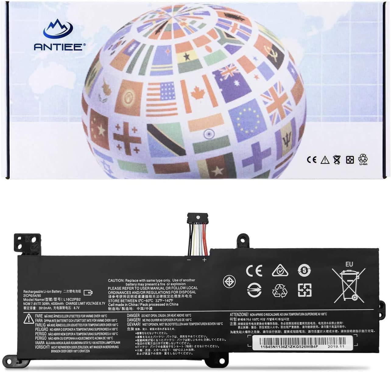 ANTIEE L16C2PB2 Laptop Batería para Lenovo IdeaPad 320-14AST 320-14IAP 320-14IKB 320-14ISK 320-15ABR 320-15AST 320-15IAP Series L16L2PB2 L16L2PB1 L16S2PB1 L16C2PB1 7.6V 30Wh 4030mAh