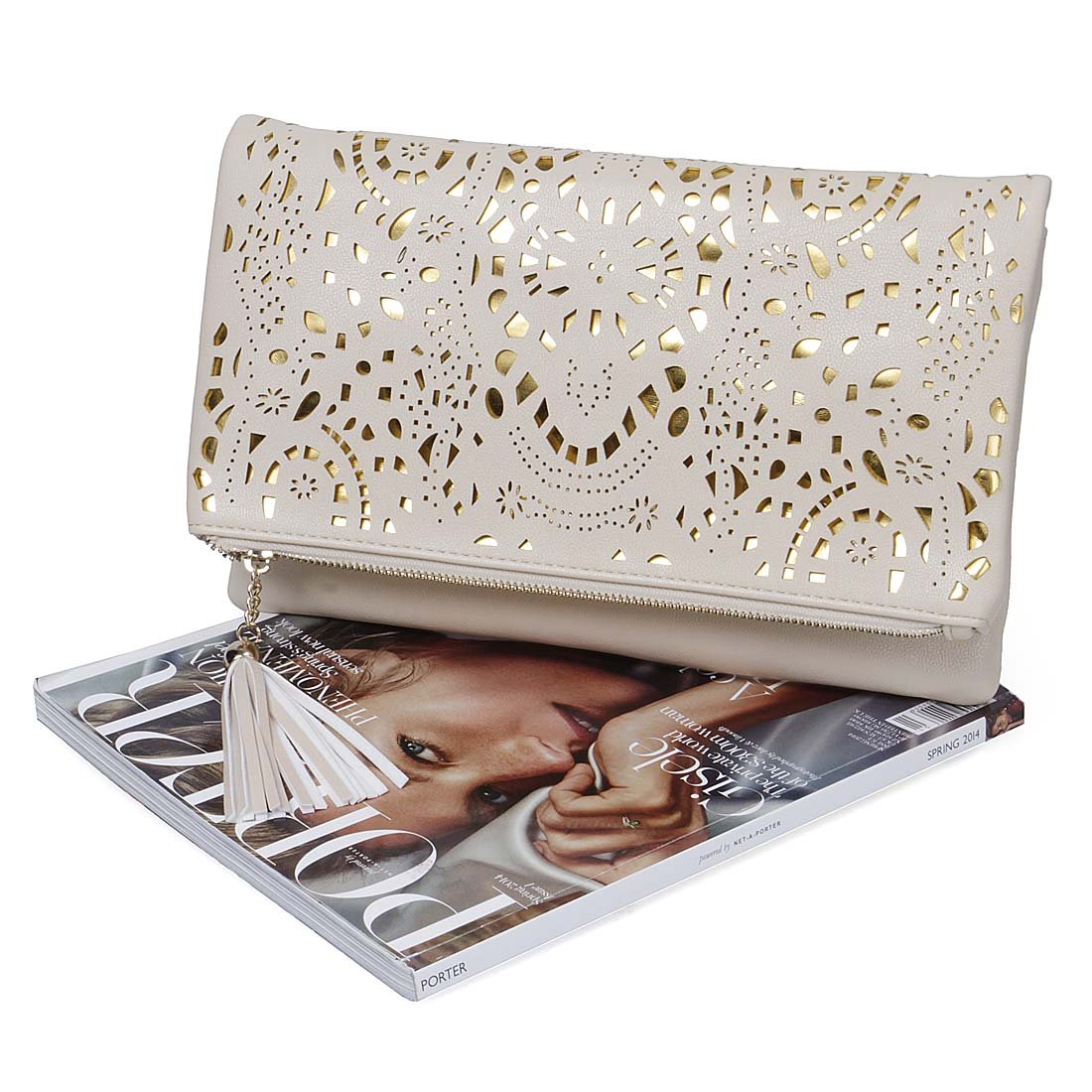 BMC Womens Glimmering Gold Perforated Cut Out Pattern Gold Accent Background Foldover Pouch Fashion Clutch Handbag by b.m.c (Image #7)