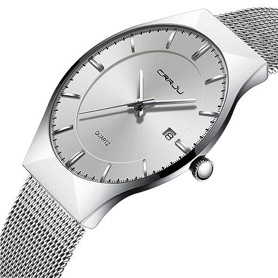 4fd2282a703 CRRJU Fashion Utral Thin Dial Watches for Men Luxury Simple Quartz milanese  Watch