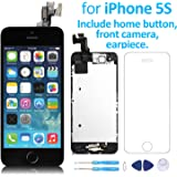 for iPhone 5S LCD Screen Black – Corepair Full Assembly Display Replacement Touch Digitizer with Home Button, Front Camera, Ear Speaker, Repair Tools and Screen Protector (iPhone 5S Black)