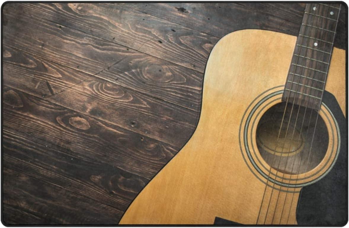 VIKKO Stylish Guitar Wooden Doormat Floor Mat, 31 x 20 inch Durable Indoor Entrance Rug Home Decor Entryway Carpet