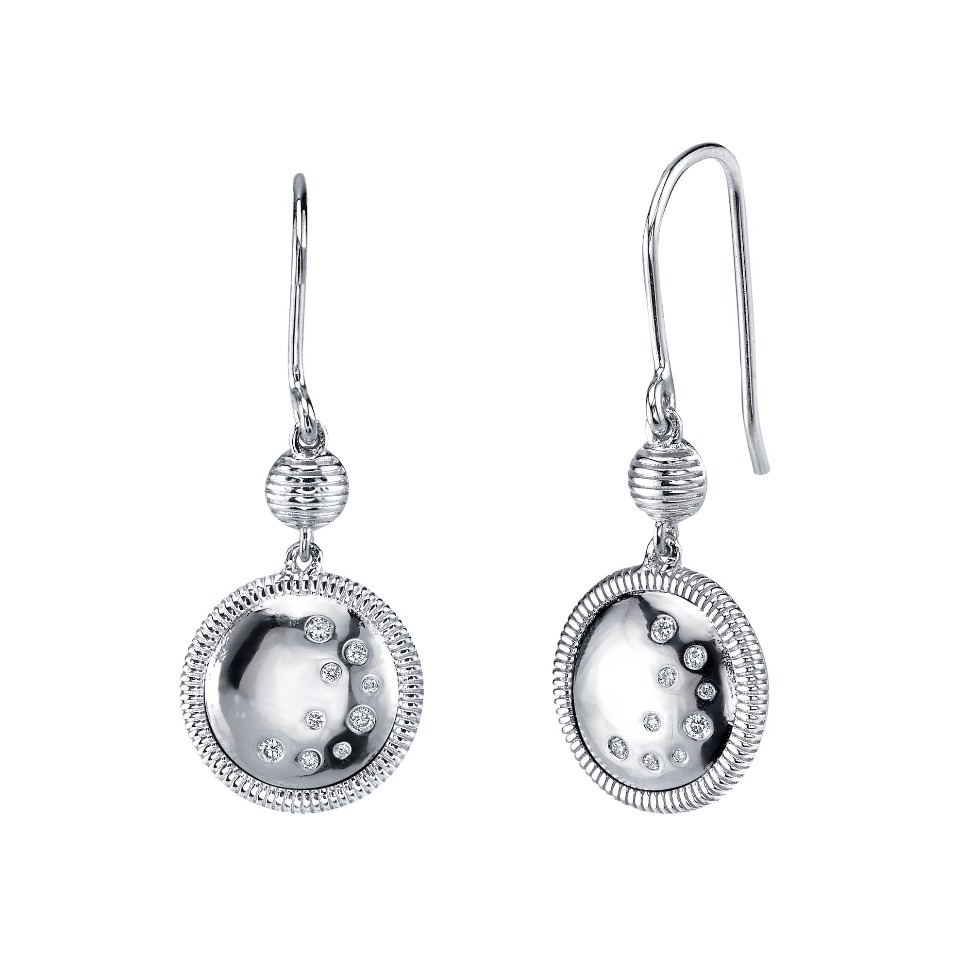 CHARLIZE GADBOIS Sterling Silver Diamond Drop Earrings, White Rhodium (0.11 cttw, I1-I2 Clarity)