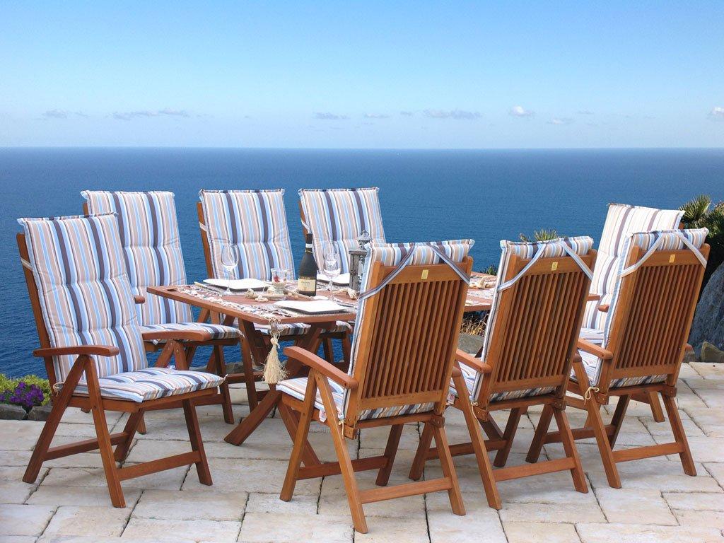 Gartenmöbel 17tlg mit 200cm Klapptisch Terrassenmöbel Santos Marine