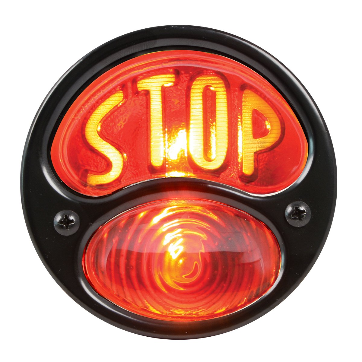 KNS Accessories KA0021 Black 12V Duolamp Tail Light for Ford Model A with Amber ''STOP'' Script on Red Glass Lens and License Light