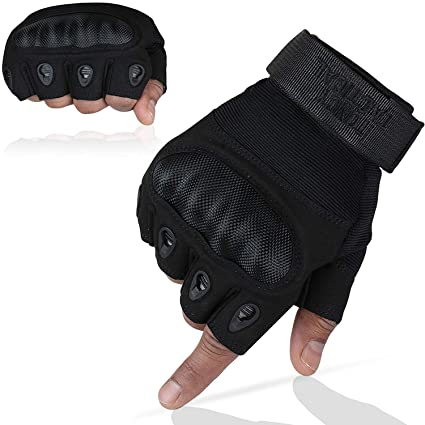 c7546b4924c27 Toncy Tactical Tactical Shooting Gloves Fingerless/Half Finger Tactical  Gloves with Hard Knuckle for Riding