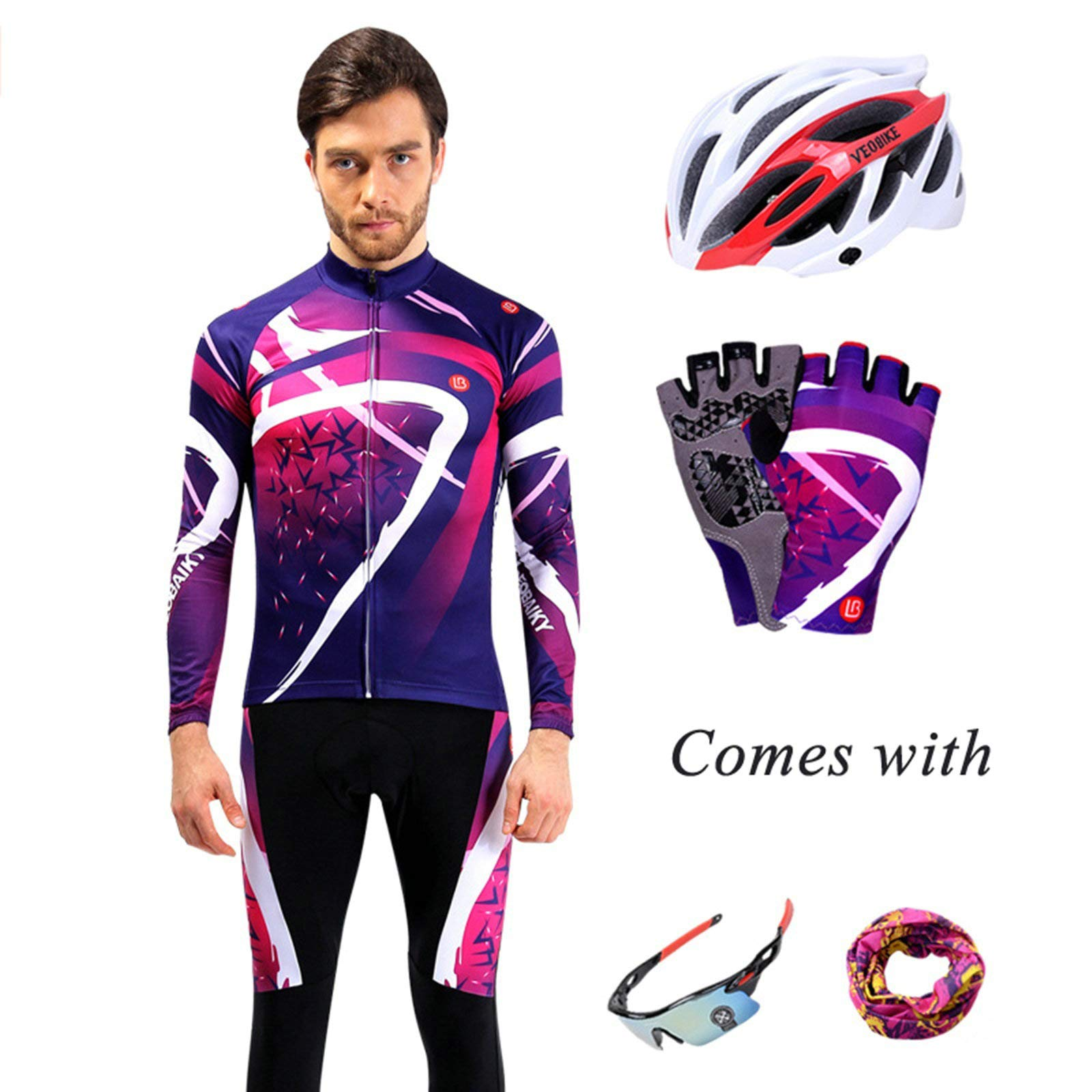 Aooaz Men's Biking Clothing Set Shirt Leggings with Helmet/Gloves/Goggles/Mask Purple S