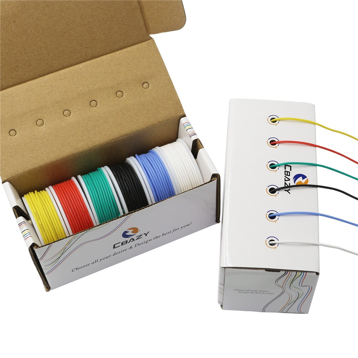 CBAZY™ Hook up Wire Kit (Stranded Wire Kit) 20 Gauge Flexible Silicone Rubber Electric Wire 6 Colors 19.6 feet Each 20 AWG