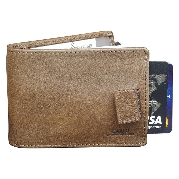 CAILLU Tiny leather wallet Men Id money Clip, Purse Card, Designer