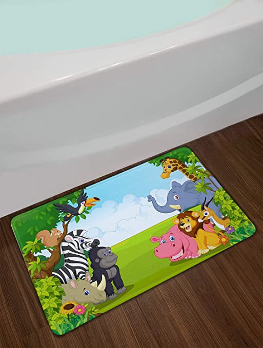 Anti-Skid Absorbent Toilet Seat Cover Bath Mat Lid Cover 3pcs//Set Rugs Giraffe Safari Animals Nursery Baby Nursery Blush Soft Comfort Flannel Bathroom Mats