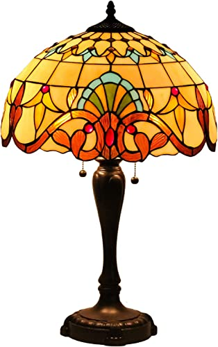 Speculo Lighting Tiffany Style Table Lamp W16H25Inch Hand-Cut Baroque Stained Glass Antique Night Light