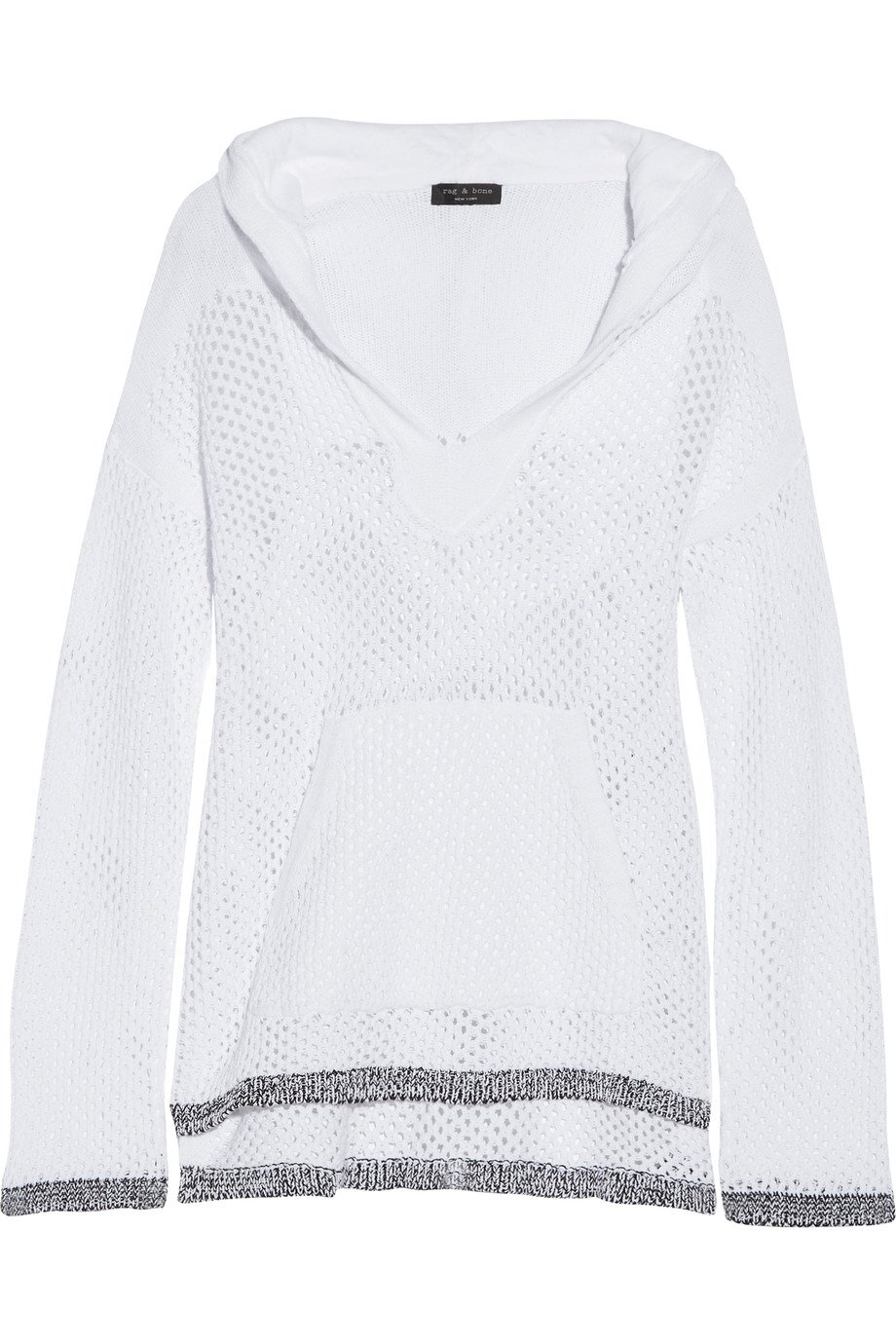 Rag & Bone Thea White Knit Hooded Sweater M