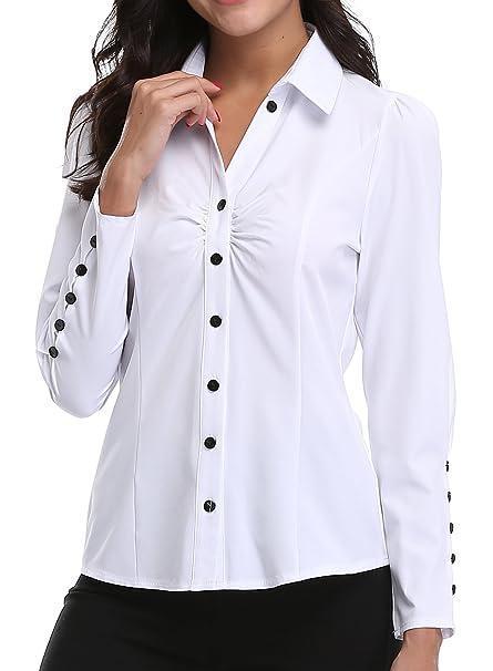 f54ec6586 MISS MOLY Camisas y Blusas para Mujeres Oficina señoras Ladies V Cuello  Casual Tops Casuales Mangas largas abotonadas Fruncen el Frente Formal  Workwear  ...
