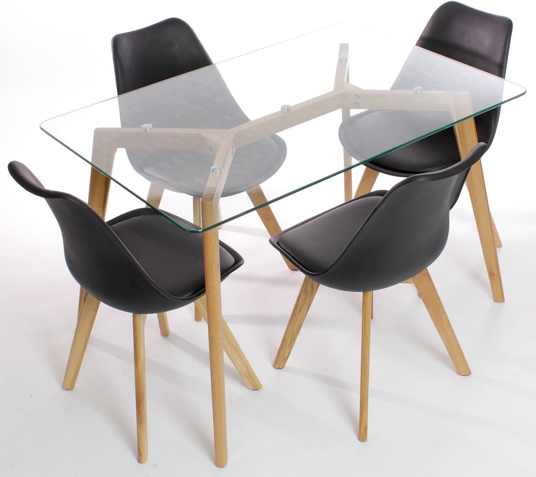 Charles Jacobs mesa de comedor con cuatro negro sillas madera ...
