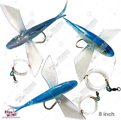 """Tuna Marlin Lure Yummy Flyer 8/"""" Black // Silver Flying Fish Rigged Mahi"""