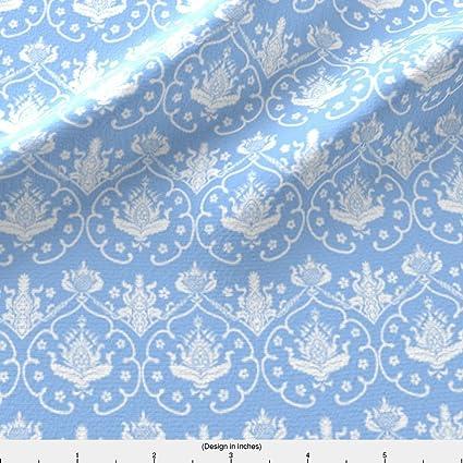 Tela de damasco gótica damasco ~ ~ de Colonia Jasper azul y blanco por peacoquettedesigns impreso