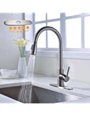 LAZADA Best Commercial Single Handle High Arc Brushed Nickel Pull Down Sprayer Kitchen Sink Faucet,Lead-Free Stainless Steel Single Lever Pull Out Kitchen Faucets with Deck Plate